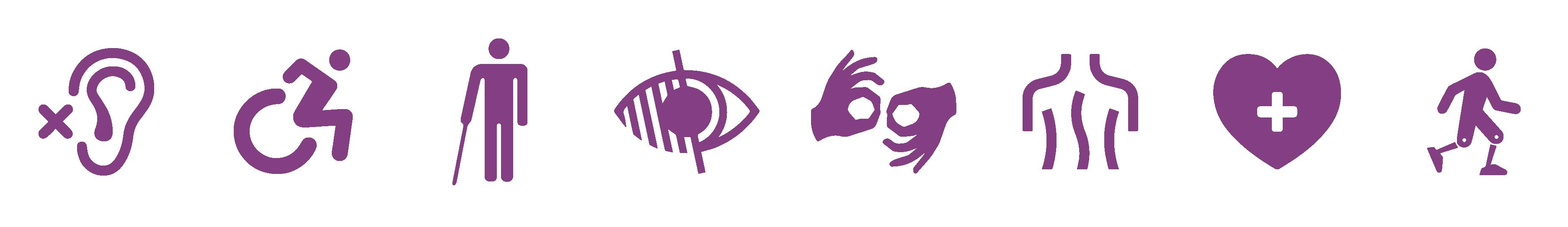 Huit pictogrammes symbolisant différents type d'handicap